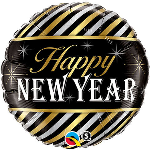 18 inch New Year Stripes Foil Balloon