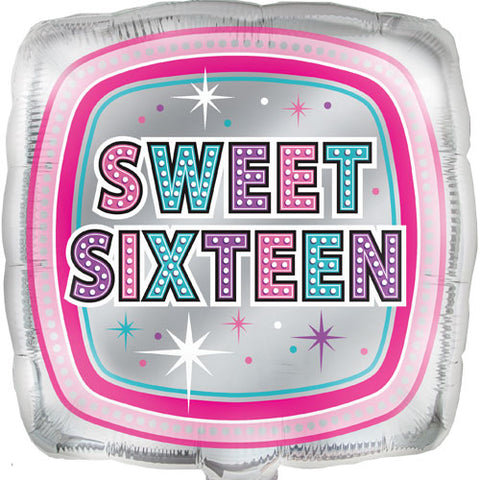 18 inch Sweet 16 Square Foil Balloon