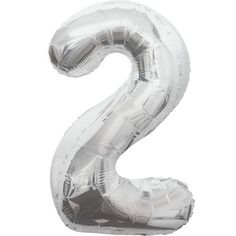 34 inch Silver Number 2 Foil Balloon