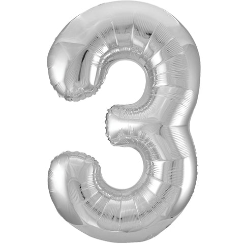 34 inch Silver Number 3 Foil Balloon