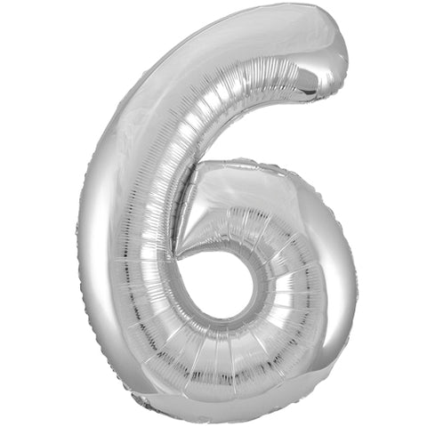 34 inch Silver Number 6 Foil Balloon