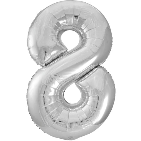 34 inch Silver Number 8 Foil Balloon