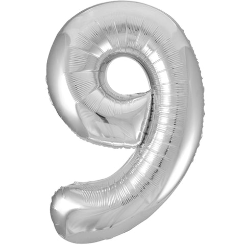 34 inch Silver Number 9 Foil Balloon