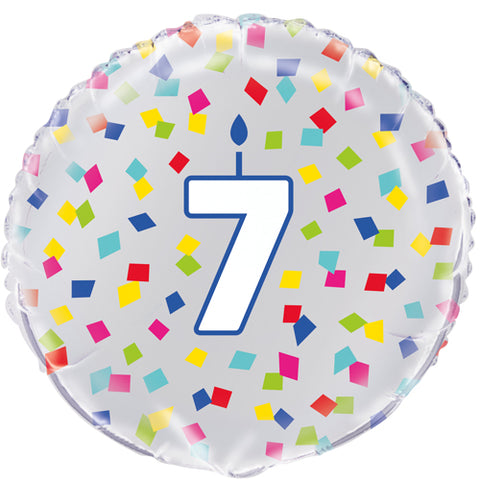 18 inch 7th Birthday Confetti Cheer Foil Balloon