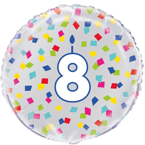 18 inch 8th Birthday Confetti Cheer Foil Balloon