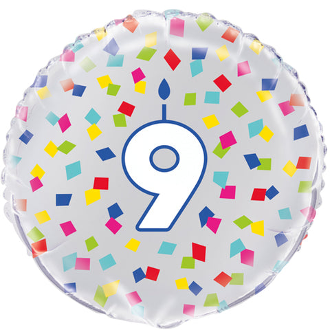 18 inch 9th Birthday Confetti Cheer Foil Balloon