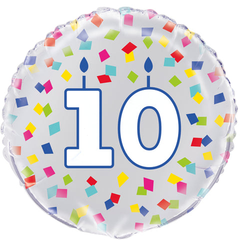 18 inch 10th Birthday Confetti Cheer Foil Balloon
