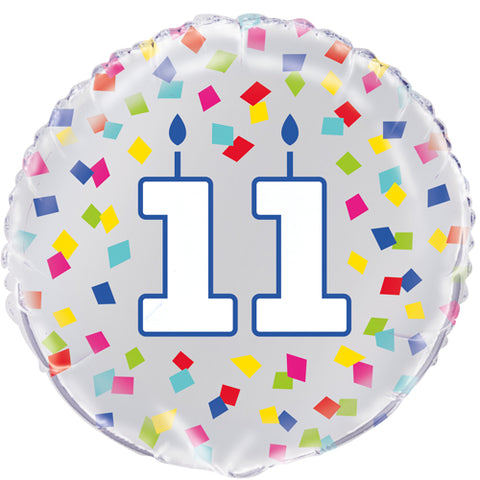 18 inch 11th Birthday Confetti Cheer Foil Balloon