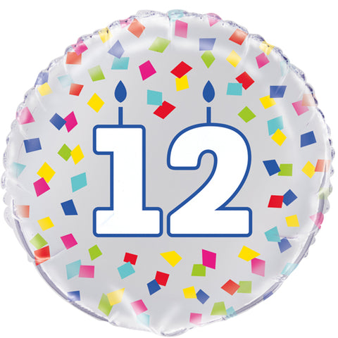 18 inch 12th Birthday Confetti Cheer Foil Balloon