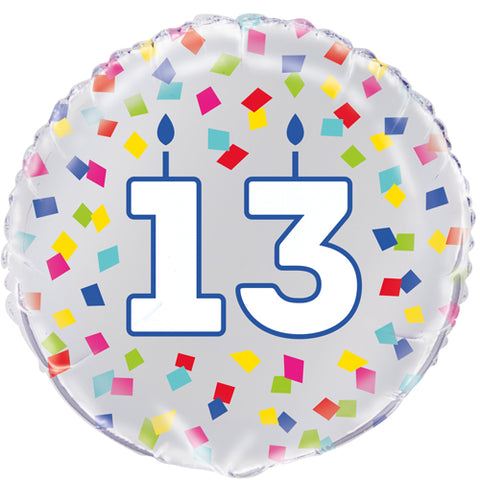 18 inch 13th Birthday Confetti Cheer Foil Balloon