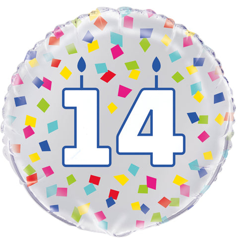 18 inch 14th Birthday Confetti Cheer Foil Balloon