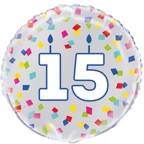 18 inch 15th Birthday Confetti Cheer Foil Balloon