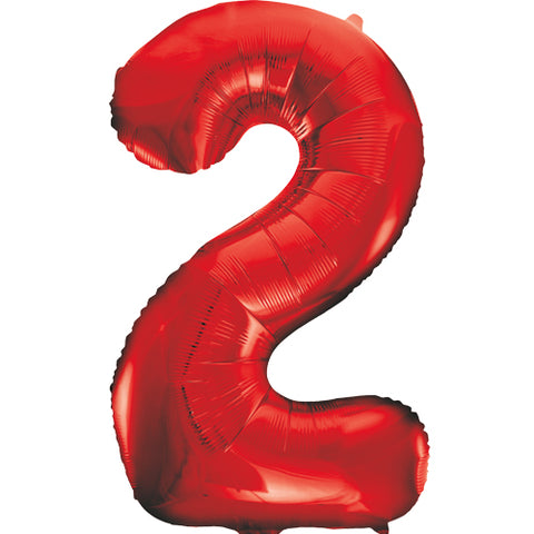 34 inch Red Number 2 Foil Balloon