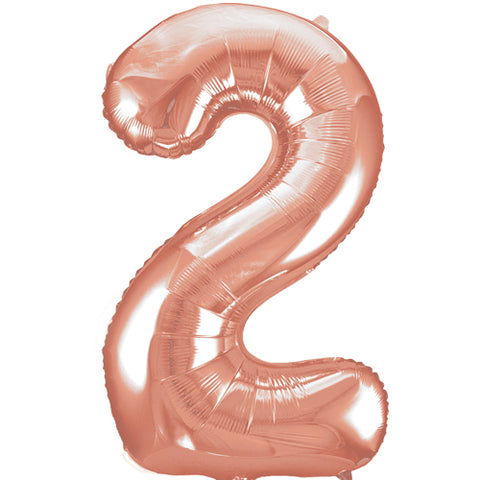 34 inch Rose Gold Number 2 Foil Balloon