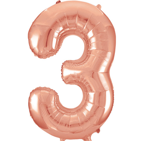 34 inch Rose Gold Number 3 Foil Balloon