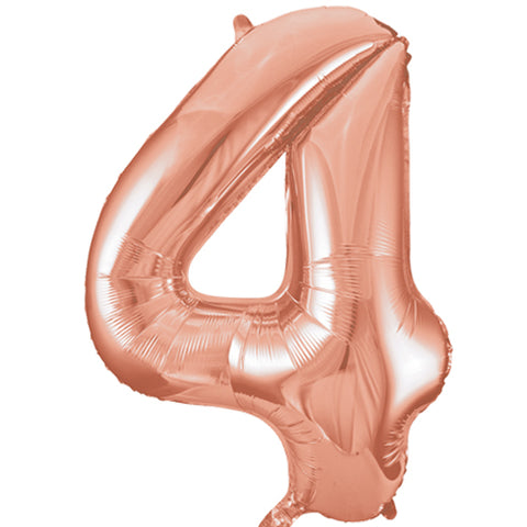 34 inch Rose Gold Number 4 Foil Balloon