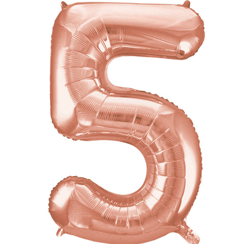 34 inch Rose Gold Number 5 Foil Balloon