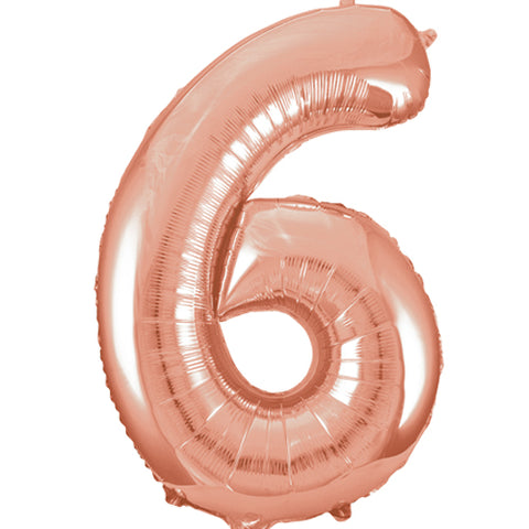 34 inch Rose Gold Number 6 Foil Balloon
