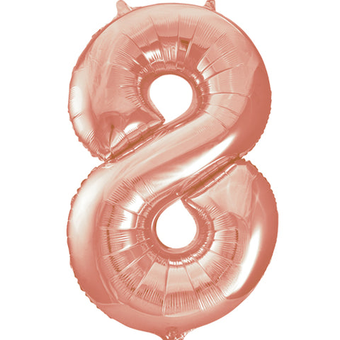 34 inch Rose Gold Number 8 Foil Balloon