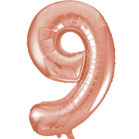34 inch Rose Gold Number 9 Foil Balloon