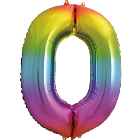 34 inch Rainbow Number 0 Foil Balloon