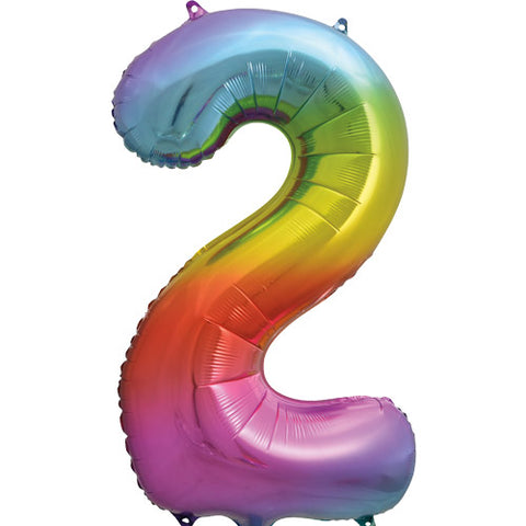 34 inch Rainbow Number 2 Foil Balloon
