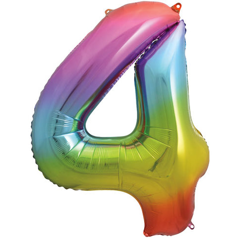 34 inch Rainbow Number 4 Foil Balloon