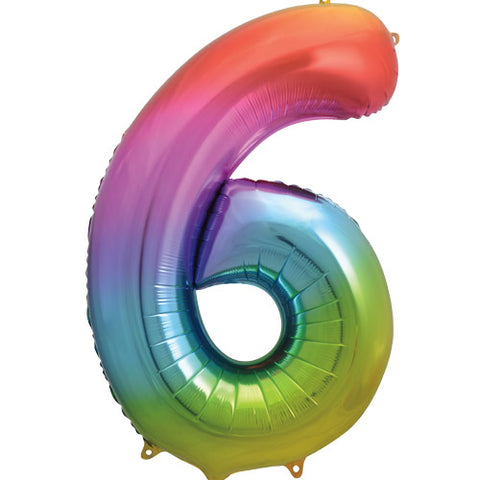 34 inch Rainbow Number 6 Foil Balloon