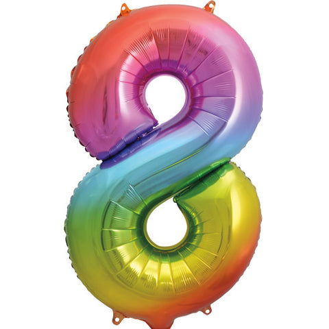 34 inch Rainbow Number 8 Foil Balloon