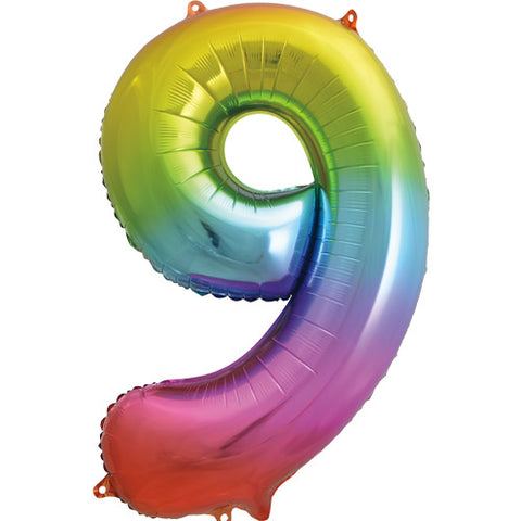 34 inch Rainbow Number 9 Foil Balloon