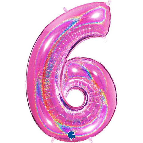 40 inch Holo Glitter Fuchsia Number 6 Foil Balloon