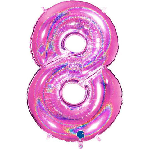 40 inch Holo Glitter Fuchsia Number 8 Foil Balloon