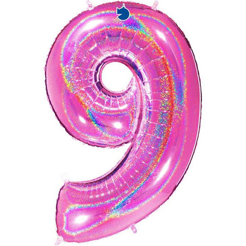 40 inch Holo Glitter Fuchsia Number 9 Foil Balloon