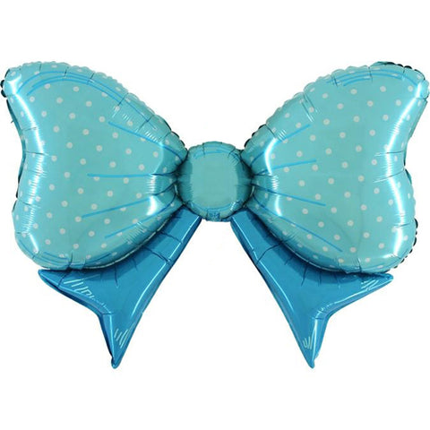 43 inch Blue Polka Dot Bow Foil Balloon