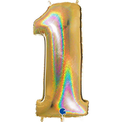 40 inch Holo Glitter Gold Number 1 Foil Balloon