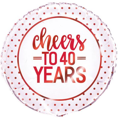 18 inch Cheers to 40 Years Anniversary Foil Balloon