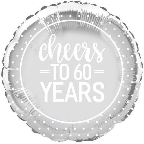 18 inch Cheers to 60 Years Anniversary Foil Balloon