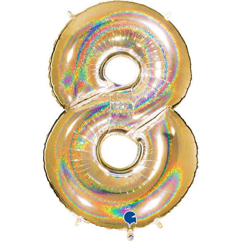 40 inch Holo Glitter Gold Number 8 Foil Balloon