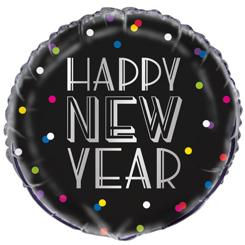 18 inch New Year Neon Dots Foil Balloon
