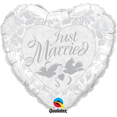 36 inch Just Married Pearl White & Silver Heart Foil Balloon