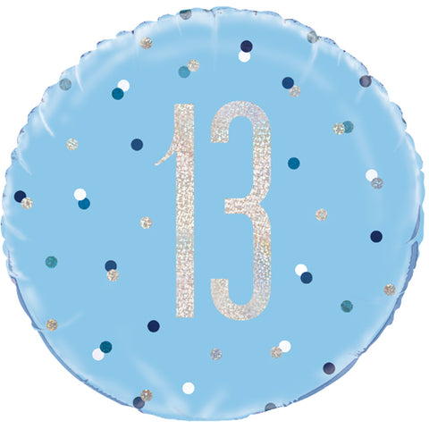 18 inch 13th Birthday Glitz Blue & Silver Foil Balloon