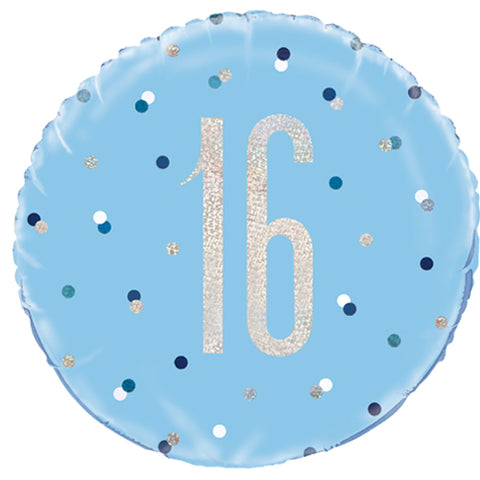 18 inch 16th Birthday Glitz Blue & Silver Foil Balloon