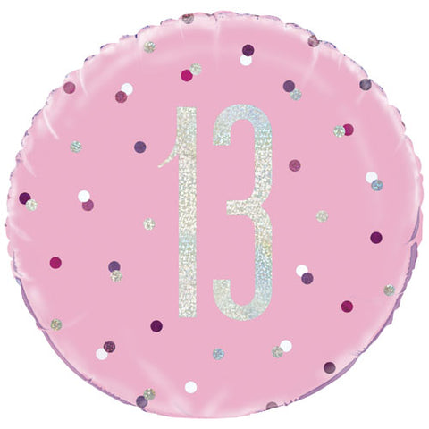 18 inch 13th Birthday Glitz Pink & Silver Foil Balloon