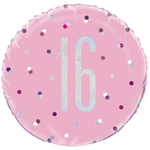 18 inch 16th Birthday Glitz Pink & Silver Foil Balloon