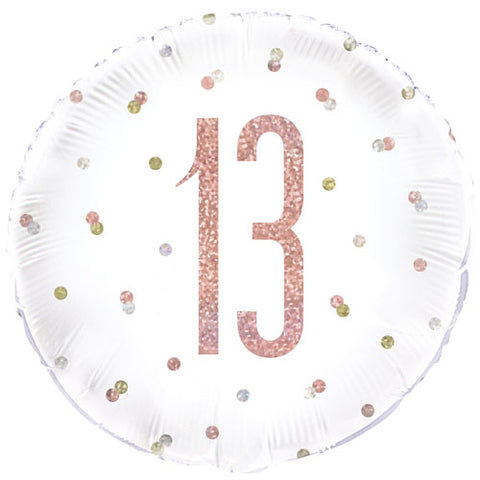 18 inch 13th Birthday Glitz Rose Gold Foil Balloon