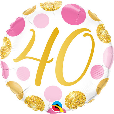 18 inch Age 40 Pink & Gold Dots Foil Balloon