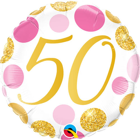 18 inch Age 50 Pink & Gold Dots Foil Balloon