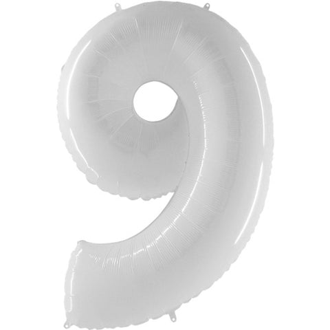 40 inch Shiny White Number 9 Fluo Balloon