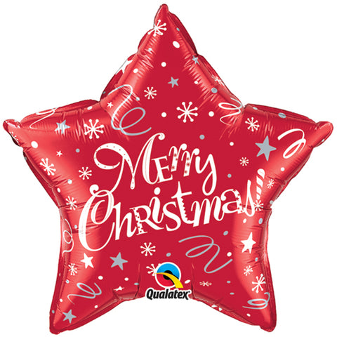 20 inch Merry Christmas! Festive Red Star Foil Balloon