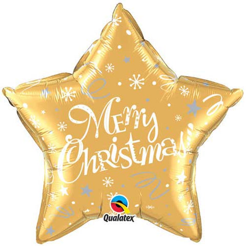 20 inch Merry Christmas! Festive Gold Star Foil Balloon